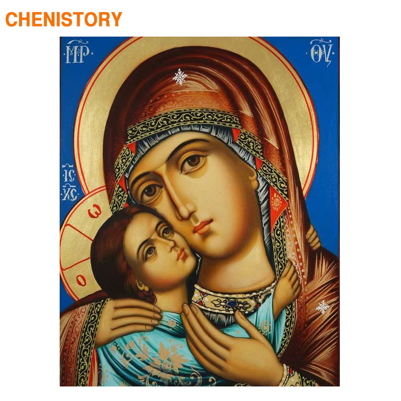 CHENISTORY Frame Religion Diy Painting By Numbers Kits Figure Painting Wall Art Picture Acrylic Canvas Painting For Home Decors