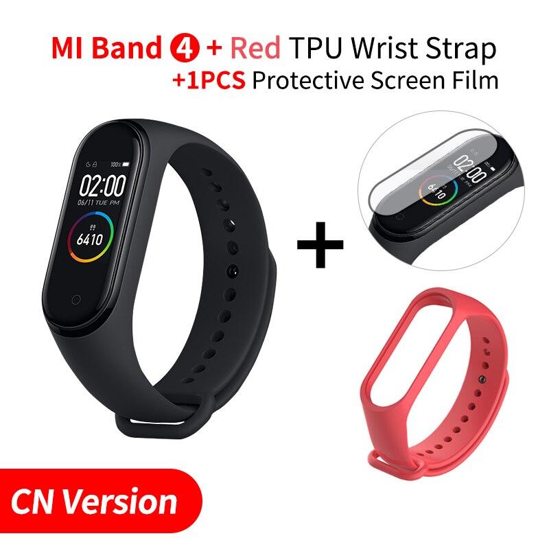 Xiaomi mi Band 4 Smart mi band 3 Цвета экран Браслет фитнес-трекер для измерения сердечного ритма Bluetooth 5,0 водонепроницаемый банда4 - Цвет: Add Red Strap