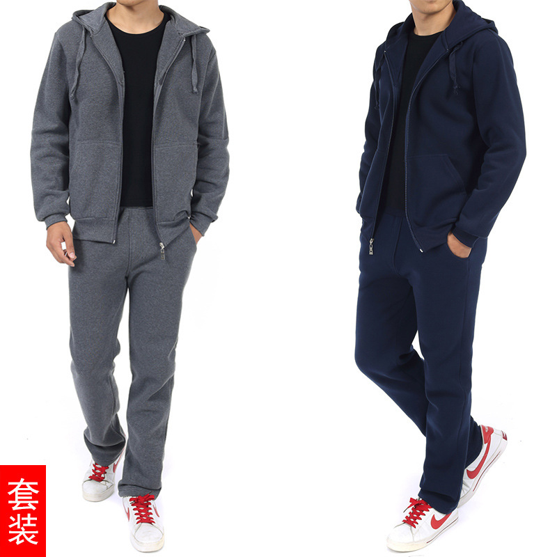 Spring And Autumn Middle-aged Men'S Wear Leisure Sports Suit Men's Hoodie Trousers Daddy Clothes Large Size Two-Piece Set