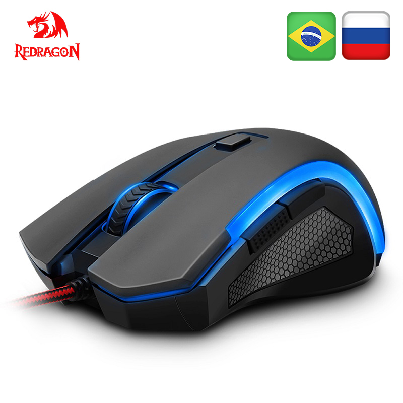 Redragon griffin m607 usb wired gaming computador mouse 7200 dpi 6 botões 7 cor retroiluminado rgb programável ergonômico para o jogador de computador
