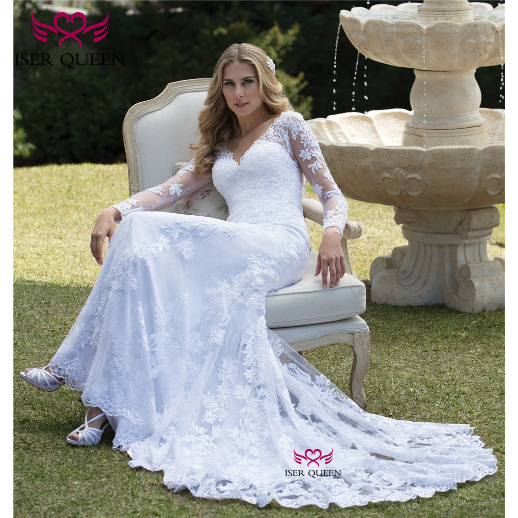 Vintage Long Sleeves Sexy V-neck Embroidered Lace On Net Mermaid Wedding Dresses Button Court Train свадебные платья W0633