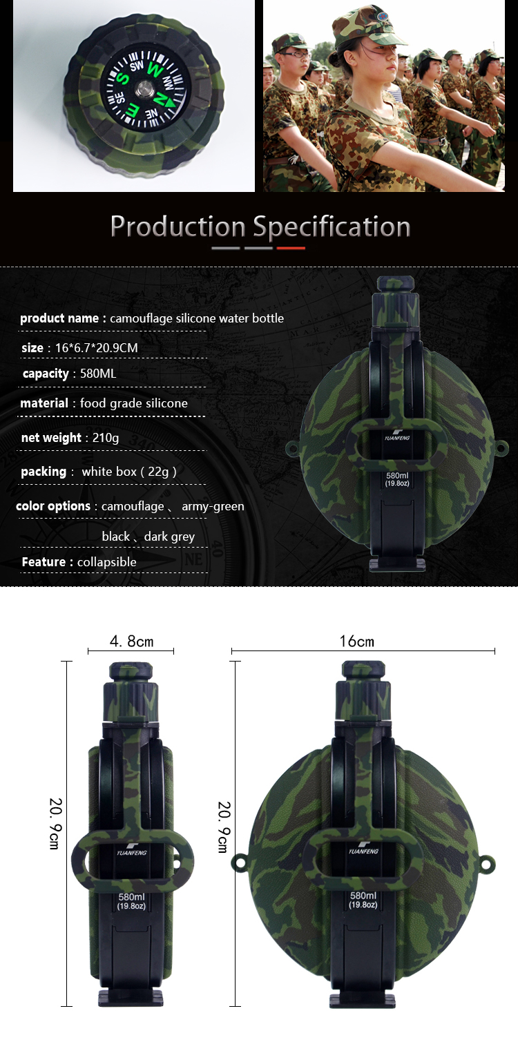 New Products 2018 Outdoor Sport Water Bottle Collapsible Silicone Bottle