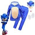 Детская Sonic зубная щётка Ежик маскарадный костюм для Хэллоуина; Костюм перчатки для девочек мальчиков одежда Маска Костюм со свитером