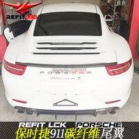 포르쉐 카레라 911 991 2012 2013 2014 2015 자동차 장식 테일 윙 vrt 스타일 블랙 카본 파이버 리어 윙 스포일러