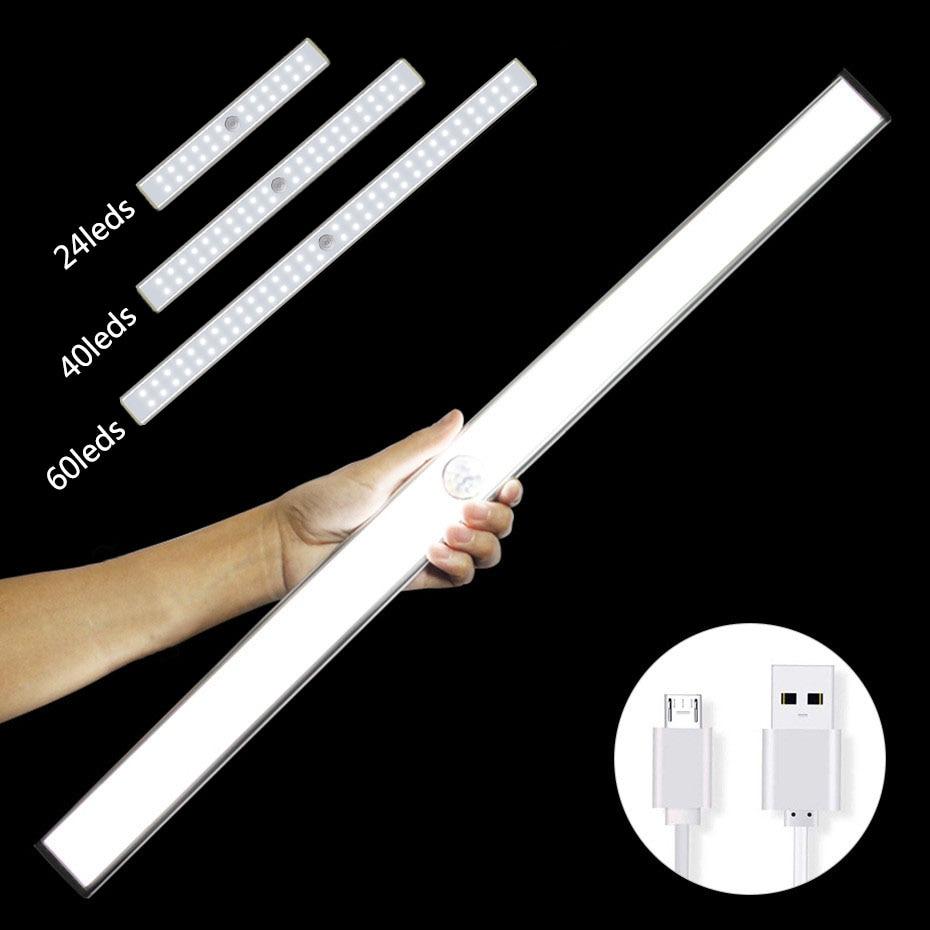 24 40 60 LED PIR Motion Detector Night Light Wireless Sensor Cabinet Light USB Rechargeable Night Lamp Bedroom Wardrobe Light