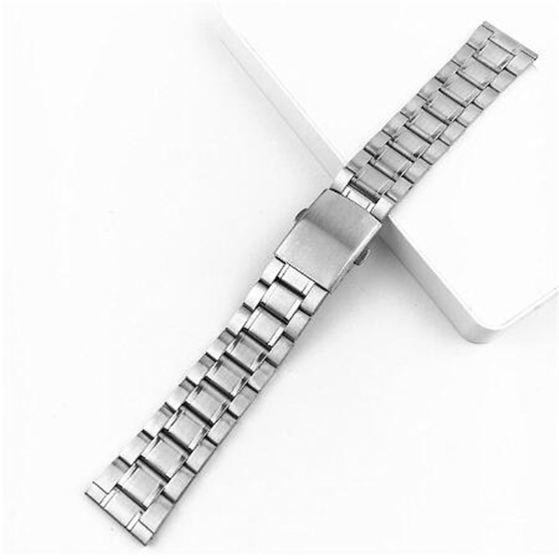 Stainless Steel 12/14/16/18/20/22mm Watch Strap Wrist Bracelet Silver Color Metal Watchband With Folding Clasp For Men Women