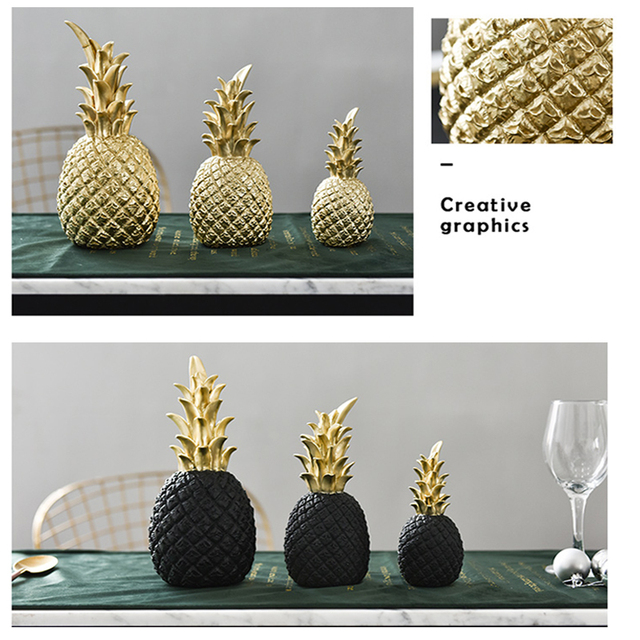 Nordic Resin Gold Pineapple Modern Home Decoration For Living Room Cabinet Window Desktop Party Wedding Home Ramadan Decoration 3