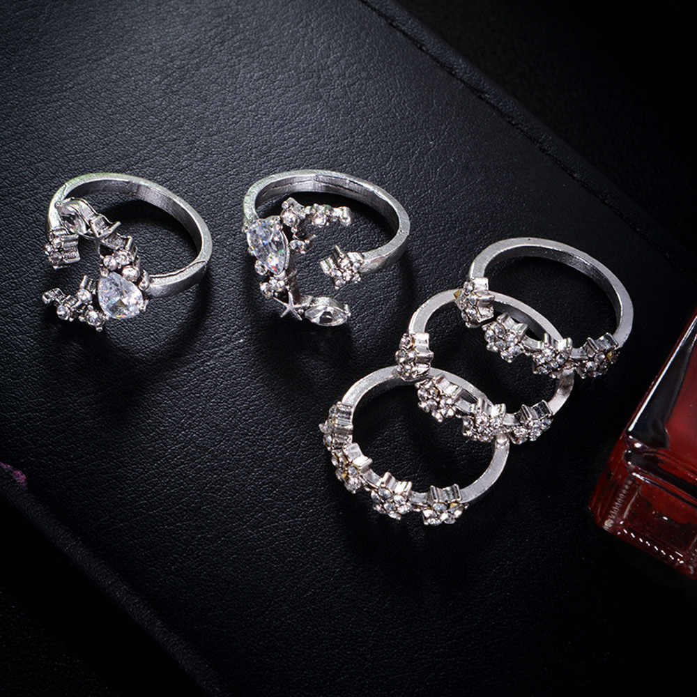 5PC Bohemian ดอกไม้มงกุฎดวงจันทร์แหวนเครื่องประดับ Silver Star Moon Lover แต่งงานคริสตัล STACK แหวนชุดอุปกรณ์เสริม FX