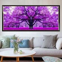 5D DIYภาพวาดเพชรCROSS Stitchสีม่วงCherry Treeเย็บปักถักร้อยทำด้วยมือResionรอบเพชรตกแต่งห้องนั่งเล่น 120x45cm
