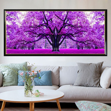 5D DIY Diamond Painting Cross Stitch Purple Cherry Tree Embroidery Handmade Resion Round Diamond Living Room Decor 120x45cm