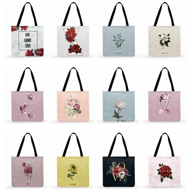 Women Casual Tote Ladies Shoulder Bag Elegant Floral Print Tote Bag For Women Handbags Foldable Shopping Bag Outdoor Beach Bags