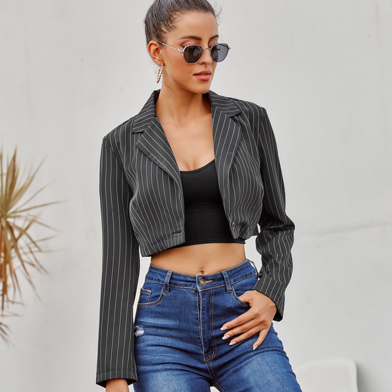 2020 Autumn Notched Striped Blazer Cropped Vintage Women Single Button Long Sleeve Short Suit Coat Black New Blazer Feminino