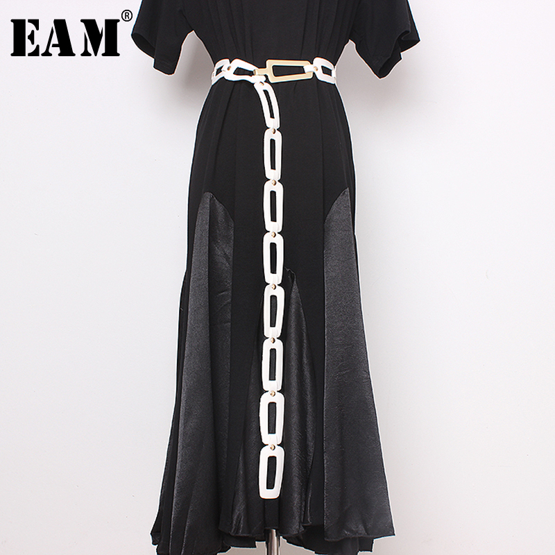 [EAM]  Pu Leather Black Buckle Split Joint Long Wide Belt Personality Women New Fashion Tide All-match Spring 2020 1N945