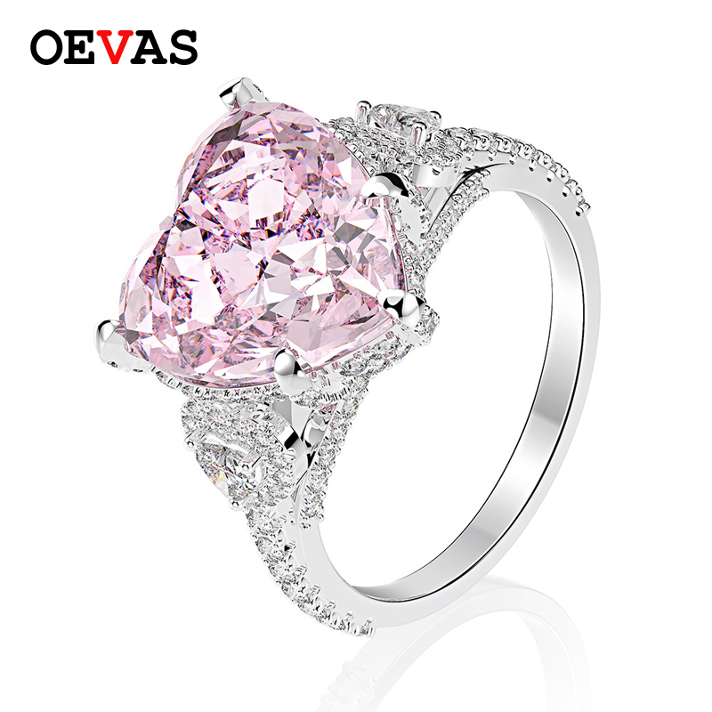 OEVAS Romantic 100% 925 Sterling Silver Heart Pink Sapphire Gemstone Wedding Engagement Diamonds Ring Fine Jewelry Wholesale