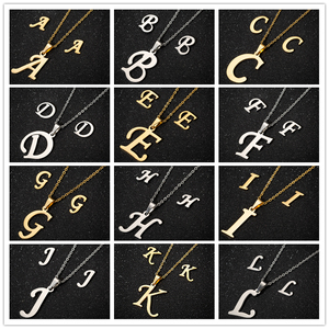 Initial Old English Letter Necklace Stainless Steel 26 Alphabet Capital Letters Pendants Necklaces for Women Jewelry Collares