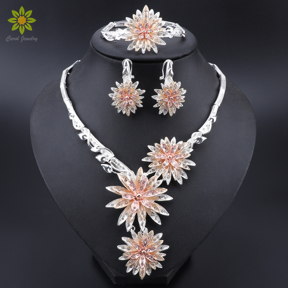 African Women Flower Shaped <font><b>Necklace</b></font> <font><b>Earrings</b></font> <font><b>Ring</b></font> <font><b>Bracelet</b></font> Jewelry Sets Crystal Classic Wedding Fashion Jewelry Set for Bride image