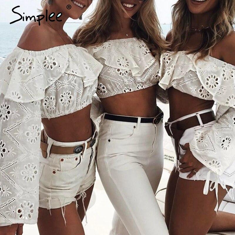 Simplee Sexy Off Shoulder Ruffles Hollow Out Blouse Women Long Sleeve Split Tank Crop Top Blouse Autumn Streetwear Blouse Female