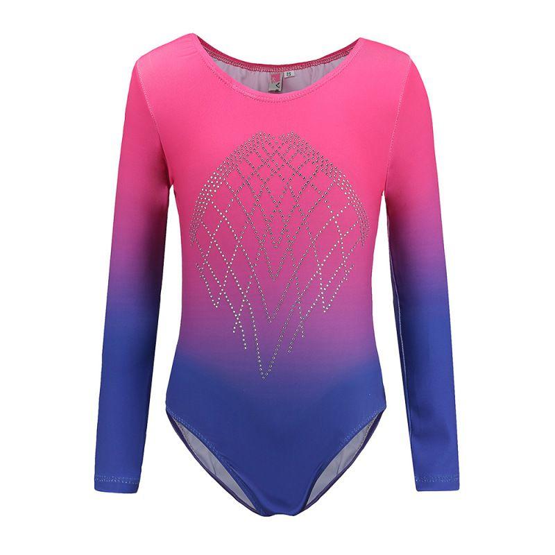 Long Sleeve Ballet Dancewear Gymnastics Leotard Girls Kids Ballet Dance Suit Practice Ballet Clothes 5-12 Year