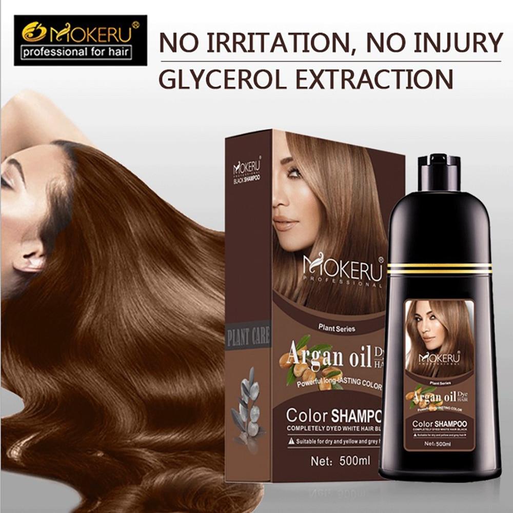 500ml Natural Argan Oil Essence Instant Hair Dye Shampoo Instant Hair Color Cream Cover Permanent Hair Coloring Shampoo Women