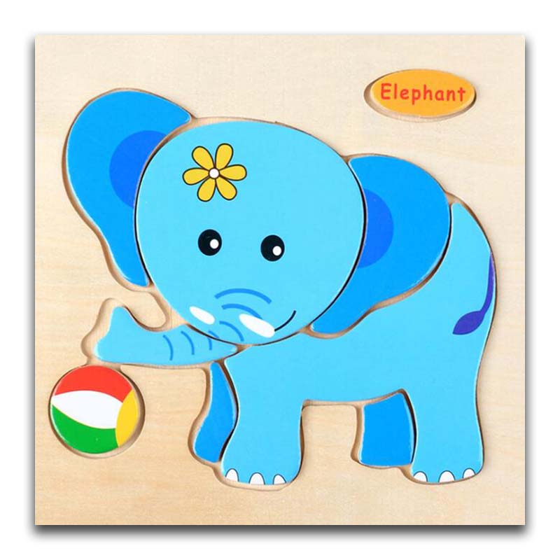 3D Wooden Puzzle Jigsaw Toys For Children Wood 3d Cartoon Elephant Animal Puzzles Intelligence Kids Early Educational Toys