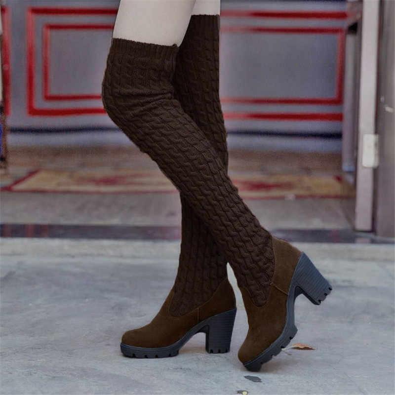 ถักยืด Overknee รองเท้าสตรีสูงรองเท้าแฟชั่นเซ็กซี่ Slim สีดำรองเท้าผู้หญิงรองเท้าส้นสูงรองเท้า Bottes Femme