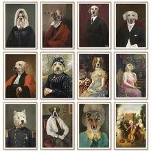 Картина на холсте в стиле ретро животное собака леди украшение