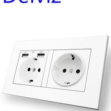 Usb-Socket Power-Outlet Wall Usb Double-Frame Delviz Standard 146mm--86mm EU AC 110--250v