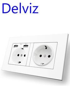 Delviz Usb-Socket Power-Outlet Wall Usb Double-Frame Standard 146mm--86mm EU AC 110--250v