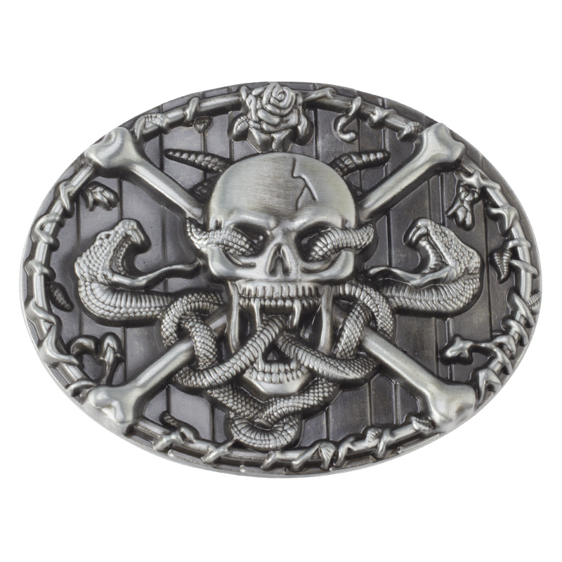 Vintage Skull And Snake Western Belt Buckle Suitable For 4cm Width Belt Buckle Cowboys Cowgirls Paracord Buckle