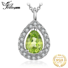 купить JewelryPalace Pear 0.8ct Natural Peridot 925 Sterling Silver Solitaire Pendant Necklace 18 Inches  в интернет-магазине