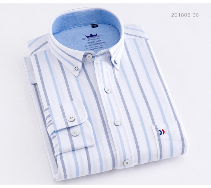 Hf91c0db576e34ab5b8a19ca048d790a7P - Men's Casual 100% Cotton Oxford Striped Shirt Single Patch Pocket Long Sleeve Standard-fit Comfortable Thick Button-down Shirts