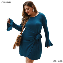 Long Sleeve Dress Streetwear O Neck Plus Size 4XL Belted Autumn Woman 2019 Solid High Waist Midi T shirt