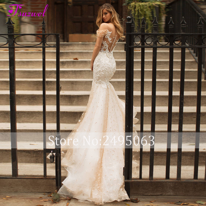 Image 2 - Fsuzwel новые очаровательные кружевные свадебные платья русалки с вырезом лодочкой и пуговицами 2020 роскошное свадебное платье с аппликацией из бисера и шлейфомСвадебные платья    АлиЭкспресс