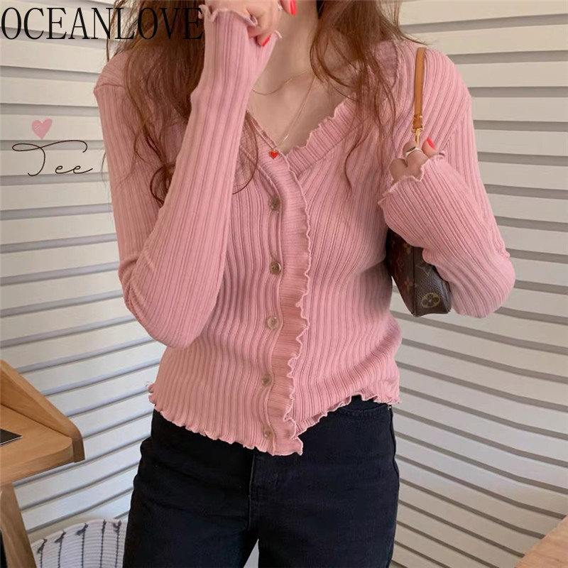 OCEANLOVE Cardigans Sweet Solid Spring Autumn 2020 Slim Women Sweaters Single Breasted Sexy V Neck Sueter Mujer Korean 15623