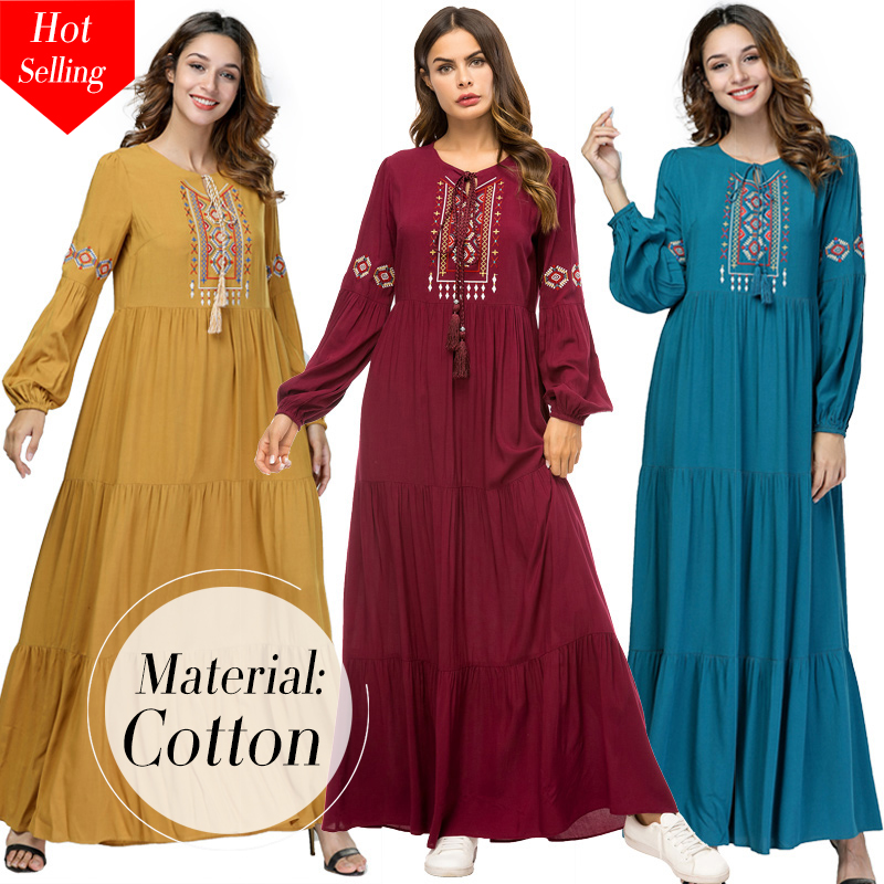 Siskakia Ethnic Geometric Embroidery Long Dress Autumn 2019 Women's Casual Maxi Dresses Long Sleeve Draped Swing Burgundy Fall