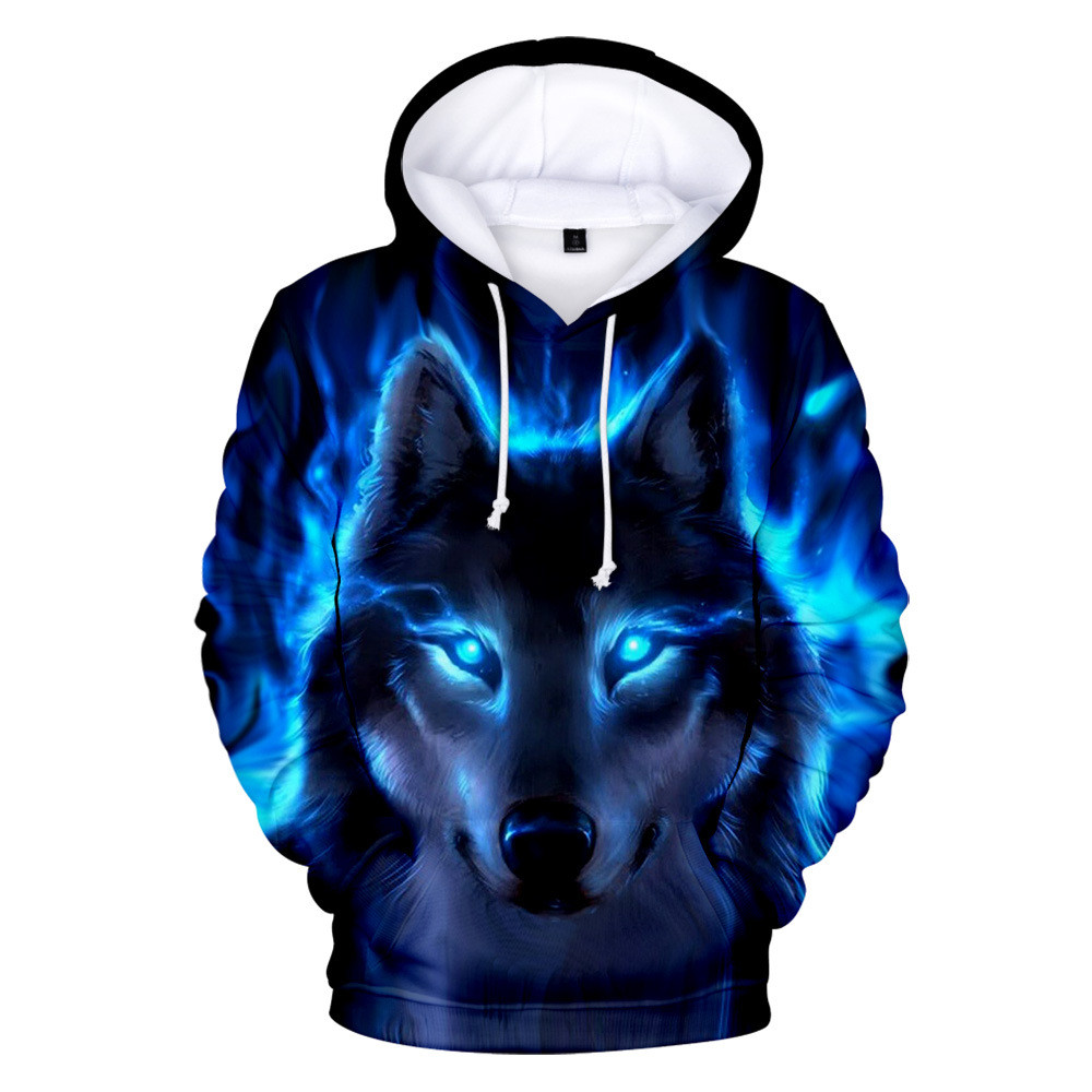 Personality Hoodie Wolf 3D Mens Boys Hoodies Sweatshirt Brand Designer Children Clothes Autumn Winter High Quality Sweatshirt