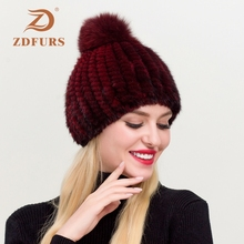 ZDFURS*Real Mink Fur Hat For Women New Brand Thicken Female Caps Ladies Winter Knitted Beanies  Fox Pompoms