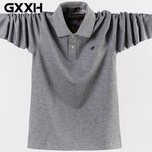 Image 1 - 4XL 5XL גדול גודל זכר פולו חולצות רחב מימדים 95% כותנה סתיו חורף גדול וגבוה Mens מותג בגדים אדום אפור ירוק שחור כחול
