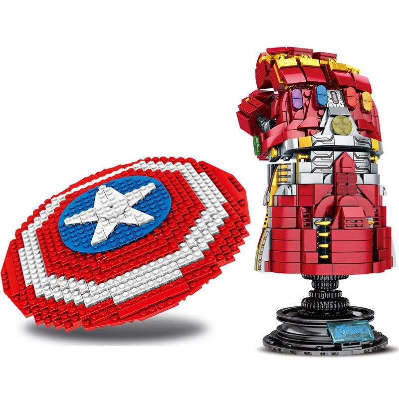 2020 New Superhero Avengers Fighter Infinite Gloves Captain America Shield Assembled Building Blocks Children Toys JM103