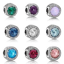 Original 925 Sterling Silver Beads round Blue Red Green Big Cz Crystal For Women Diy Pandora Charm Bracelet Necklace
