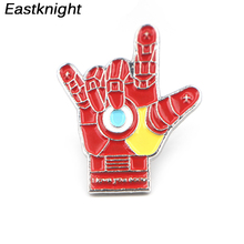 K247 I Love you 3000 Iron Mans Hand Metal Enamel Pins and Brooches for Women Men Lapel Pin Backpack Badge Denim Brooch