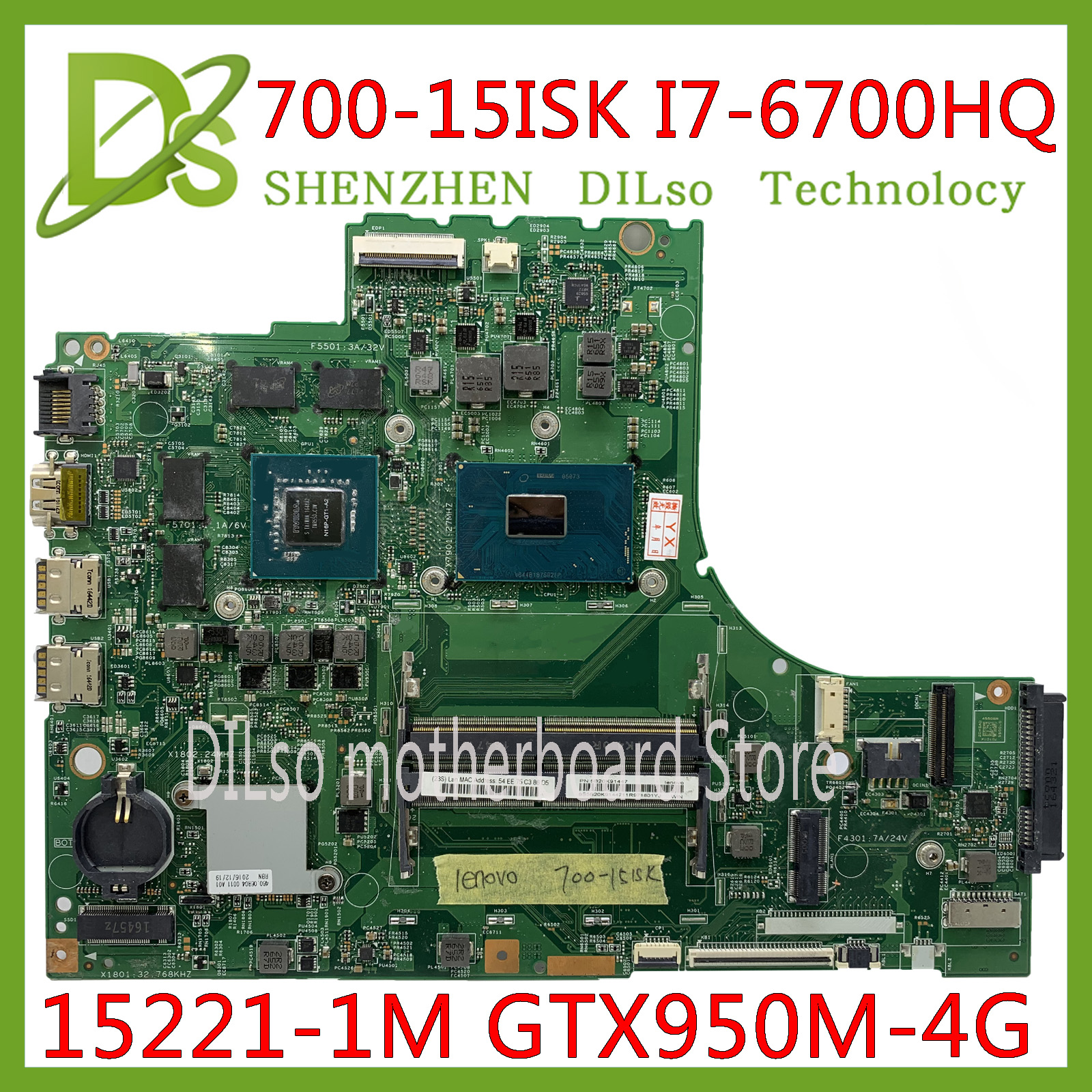 KEFU 700-15ISK Laptop motherboard for Lenovo 700-15 700-15ISK motherbaord DDR4 I7-6700HQ GTX950-4GB 15221-1M 448.06R01.001M