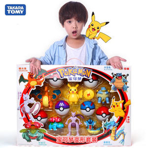 Genuine Pokemon Figure Elf Ball Model Pikachu Lunala Charizard Action Figure Model Pokemon Elf-ball Toy Set Kids Halloween Gift