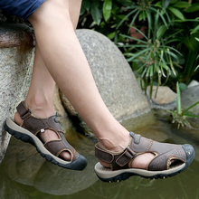 Creek Men Sandals Summer Genuine Leather Roman Sandals Male Sport Shoes Beach Outdoor Water Men Big Size 46 Outdoor River Shoes цена 2017