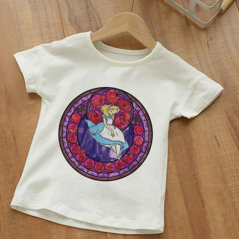 Harajuku New Boys Tshirts Funny Princess Story Energy Aperture Pattern Toddler Girl Shirts Short Sleeve Kids Tshirt Cute Fashion