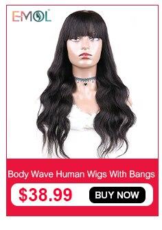 Emol kinky encaracolado peruca do cabelo humano