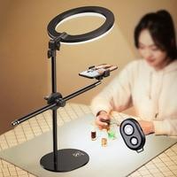 Trípode de sobremesa, monópode, soporte de montaje para fotografía y vídeo, maquillaje, lámpara de Anillo de luz LED, soporte de teléfono con Control, NE065