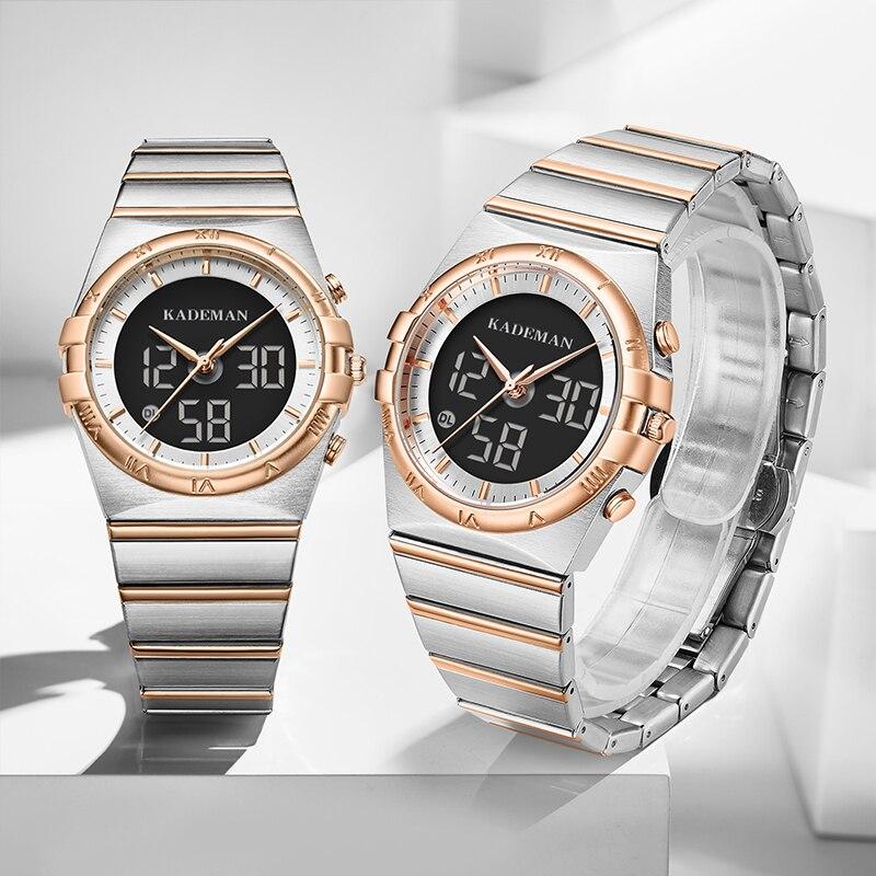 KADEMAN Couple Watches New Luxury Lovers Gifts TOP Brand LCD Quartz Watch Casual Business Fashion Men Women Wristwatch 2020Clock