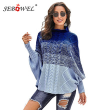 SEBOWEL Woman's High Neck Knit Poncho Sweater Female Bat Sleeve Warm Thick Ombre Striped Turtleneck Pullover Sweaters New Autumn high neck striped knit bodysuit