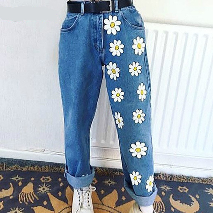 2020 hot new European and American flowers fresh and fresh women's jeans printed thin jeans casual pants